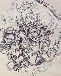 Marta Adán (@marta.adan.tattoo) • รูปและวิดีโอ Instagram Tattoo Sketches, Tattoo Drawings, Art Sketches, Art Drawings, Tribal Tattoos, Black Tattoos, Body Art Tattoos, Hindu Tattoos, Kali Tattoo