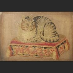 A Victorian needlework tapestry Cat Paintings, Needlepoint Kits, Victorian Homes, Primitives, Georgian, Old And New, Art For Sale, Cross Stitch Embroidery, Folk Art