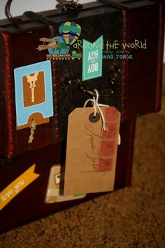 Around the World Birthday Party Luggage Tag Baggage Vintage