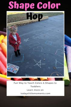 10 Basics for Teaching Colors Teaching toddlers colors and shapes can be easy with this fun game! Just need some chalk and you are ready to play The post 10 Basics for Teaching Colors appeared first on Toddlers Diy. Play Based Learning, Toddler Learning, Learning Through Play, Toddler Activities, Learning Activities, Toddler Play, Family Activities, Teaching Toddlers Colors, Teaching Colors