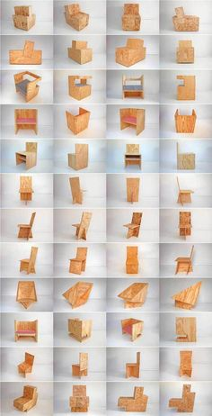 Plywood chairs unassemble, flat pack, ship and send Osb Plywood, Plywood Chair, Plywood Furniture, Cool Furniture, Furniture Design, Futuristic Furniture, Folding Furniture, Decoupage Furniture, Furniture Dolly