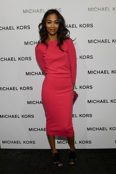 Zoe Saldana Cocktail Dress - Zoe looked both darling and comfy in this hot pink knit dress backstage at Michael Kors.