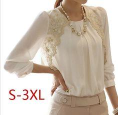 New 2014 Fashion Elegent Lady Lace Hollow Out Chiffon Embroidery Blouse Shirt Korea Style Women Basic Top render leisure S~3XL-inBlouses & S...