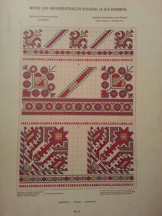 Stickerei aus Bukowina Folk Embroidery, Embroidery Patterns Free, Cross Stitch Patterns, Knitting Patterns, Diy Projects To Try, Needlepoint, Needlework, Quilts, Moldova