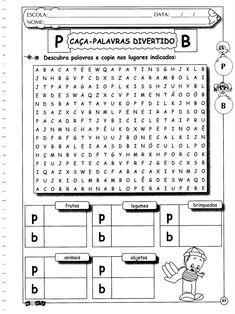 Letras P e B Caça-palavras