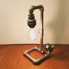 Industrial Table or Desk Lamp - Brass Ball Valve - Stainless Steel Pipe - Loft Style - KB06 - Kiang Baby