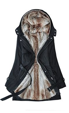 Lingswallow Womens Winter Thicken Padded Detachable Liner Trench Coat Jacket US 24 Black -- Read more reviews of the product by visiting the link on the image.(This is an Amazon affiliate link and I receive a commission for the sales)