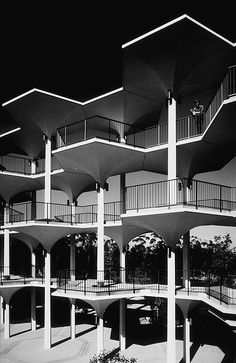 Ansel Adams, The Breezeway (with figure), UC San Diego, April 1966.
