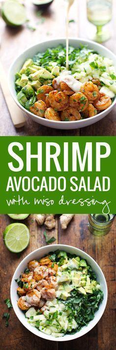 Shrimp and Avocado Salad with Miso Dressing . This Spicy Shrimp and Avocado Salad has cucumbers, baby kale, shrimp, and avocado with a creamy miso dressing. Shrimp Avocado Salad, Avocado Salat, Seafood Salad, Prawn Salad, Salad With Shrimp, Pasta Salad, Healthy Salads, Healthy Eating, Healthy Recipes