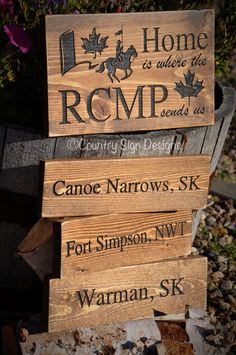 Home is where the RCMP send us – 043 Country Signs, Diy Signs, Sign Design, Accent Decor, Arts And Crafts, Hand Painted, Retirement, Glass Signs, Crafty