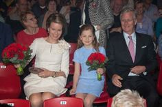 Crown princess Elisabeth of Belgium with her parents Queen Mathilde and king Philippe