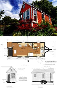 47 adorable free tiny house floor plans 26 ~ Design And Decoration Mini House Plans, A Frame House Plans, House Floor Plans, Tiny House Trailer, Tiny House On Wheels, Small Cabin Plans, Casas Containers, Tiny House Living, Living Room