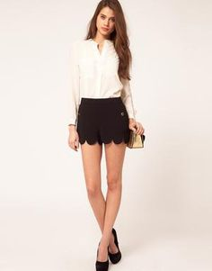 Scalloped, a new way to spice up black shorts. Love it.