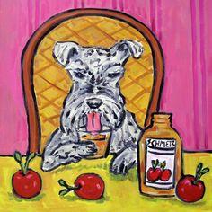schnauzer playing piano dog art print  8x10 modern art gifts