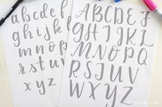 Free Printable Brush Lettering Practice Sheets — Liz on Call Brush Lettering Worksheet, Hand Lettering Practice, Types Of Lettering, Chalkboard Lettering Alphabet, Chalkboard Art, Chalkboard Drawings, Typography, Bullet Journal Hand Lettering, Letter Practice Sheets