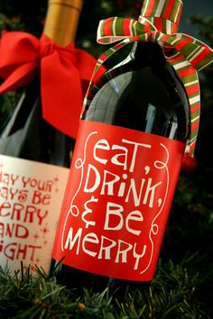 PRINTABLE whimsical Christmas wine bottle by chachkedesigns