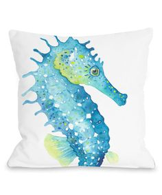 Look what I found on #zulily! Green & Blue Sea Horse Throw Pillow by OneBellaCasa #zulilyfinds