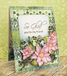 Friendship card made with Heartfelt Creations Winking Frog collection! Made by Liz Walker