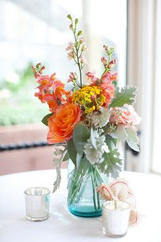 Summery mason jar centerpiece (Photo by Lili Durkin)