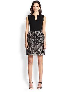 Halston Heritage - Knit/Lace-Overlay Dress - Saks.com