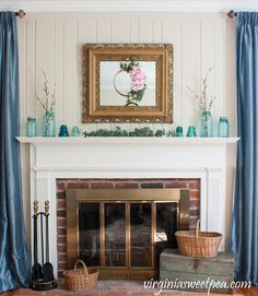 Spring Mantel With Vintage Ball Jars And Baskets Diy Home Decor Projects CraftsPinterest