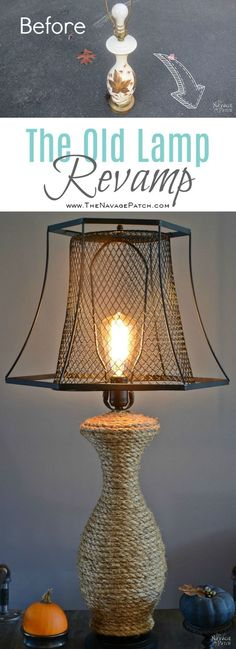 The Old Lamp Revamp, Industrial style DIY lamp makeover using Dollar Store trash can and jute rope.