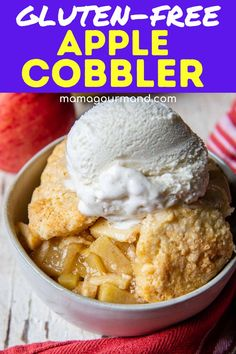 Looking for an easy and amazing gluten-free apple dessert? Apple cobbler has a juicy, perfectly sweetened apple filling with a soft, buttery cobbler biscuit topping. Plus, dairy-free and vegan adaptations are included so all can enjoy gluten-free cobbler! Cobbler, Ice Cream, Apple, Desserts, Food, No Churn Ice Cream, Apple Fruit, Tailgate Desserts, Deserts