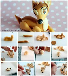 Bambi tutorial   more details here : http://cake.corriere.it/2014/05/27/il-cerbiatto-bambi/#more-16678