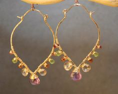 Luxe Bijoux 1 Hammered earrings wrapped with pink ruby, vessonite, citrine and amethyst