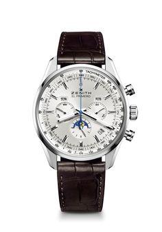 Site Officiel Zenith - Montre El Primero 410 - Montre chronographe de luxe avec cadran argenté et bracelet en cuir d'alligator (03.2091.410/01.C494).