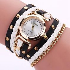 GAIETY Women Fashion Watch Quartz Female Clock PU Leather Crystal Retro Rivet Luxury Gold Ladies Women's Bracelet Watches