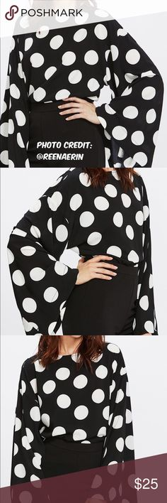 {•Polka Dot Oversized Sleeve Top•} Reposh! This is so so cute! But was too big- it is meant to be a loose big fit anyways but it still didn't work right for me. Size M. I bought from one of my fav closets (@reenaerin) and it was a boutique item- it does not have tags but it is a boutique item/NWOT. Colors are black and white! Oversized sleeves. Perfect to tuck into a high waisted pencil skirt! Measurements in last photo. Dressy Blouse material- no stretch. Buttons in back. More photos soon…