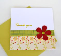 homemade thank you cards | Flower Thank you Handmade Card by yarisiandco on Etsy