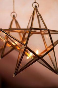 Brass  Glass Star Tea Light Holder - 2 sizes available