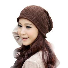 4523c64227d Amazon.com  Mikey Store Women Triangle Diamond Warm Knitted Wool Hats Cap  (Coffee
