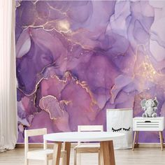 Peel and Stick Purple Gold Abstract Watercolor Wallpaper Mural | Etsy
