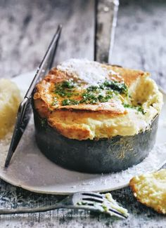 roasted garlic and potato souffles with salsa verde