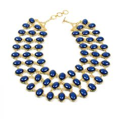 Reversible bib necklace - Here in Lapis, reverses to Turquoise. 3 Color Combos, neat!
