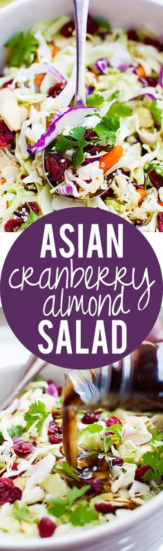 Asian Cranberry Almond Salad with Sesame Dressing | Creme de la Crumb