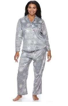 Croft Barrow Womens Pajamas Set Minky Fleece Grey Long Sleeves size XXL NE  19.99 https  12e095186