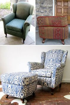 We just finished this armchair & (formerly mismatching) ottoman in a blue Ikat on linen. They don't make them like this anymore -- the chair is so well-built and heavy! Paired with the ottoman, it's such a comfy set. This chair and ottoman are available for sale.
