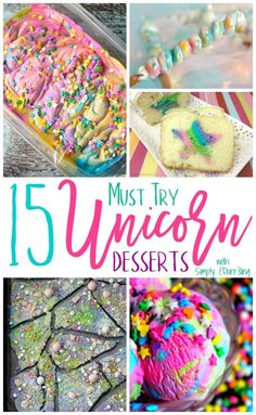 15 Must Try Unicorn Desserts is part of Fun dessert Unicorn - STOP what you are doing and read this NOW! These 15 Must Try Unicorn Desserts are amazing and a perfect way to have fun with your food Summer Desserts, Easy Desserts, Delicious Desserts, Yummy Food, Unicorn Birthday Parties, Unicorn Party, Birthday Kids, Unicorn Foods, Unicorn Cupcakes
