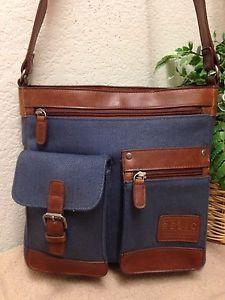 fb3a4d809c Relic Blue Canvas Leather Trim Shoulder Handbag Bag Purse Vintage Style VGC