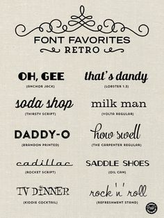 Retro fonts for graphic design, web design, blogging, paper crafts, DIY projects and more! // From Elegance and Enchantment