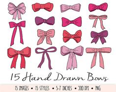 Instant download hand drawn doodle bow and ribbon clip art set in 5 different shades - hot pink, purple, red, vintage pink and pastel pink - 15