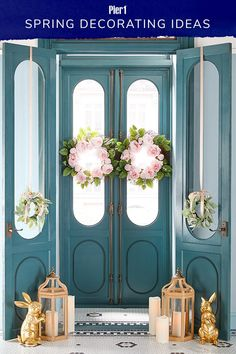 Looking for Easter decor ideas? Decked with seasonal motifs, touches of gold and as many spring wreaths as you can carry, it will make an impactful first impression. Front Door Decor, Wreaths For Front Door, Easter Wreaths, Spring Wreaths, Easter Holidays, Easter Crafts, Easter Decor, Porch Decorating, Decoration