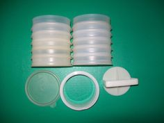 Tupperware 12 Set 1/4 lb Hamburger Keepers Containers 1 Seal Patty Press & Ring #Tupperware #HamburgerKeeper
