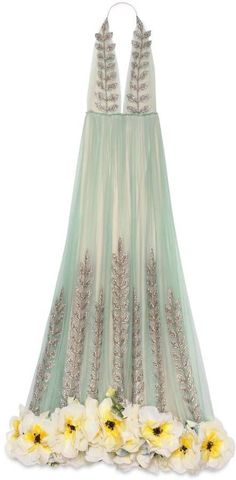 Gucci Crystal vine embroidered tulle gown