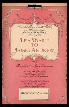 Vintage Book Cover Invitation. $2.00, via Etsy.