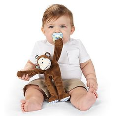 2ea52b413ab8 Mud Pie MK6 Safari Animals Baby Boy Pacy Pacifier Clip Plush Cuddlers  2112254